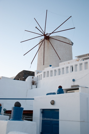 Santorini, Greece. Beauty of the Mediterranean nature. Historical heritage of the past