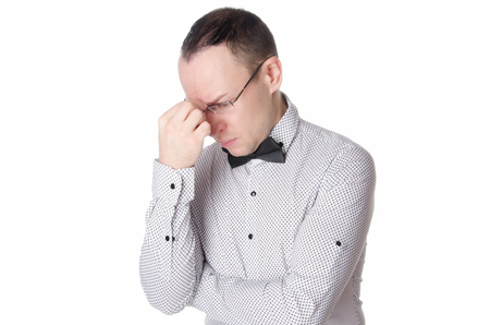 Young handsome man thinking. Business and success. White background