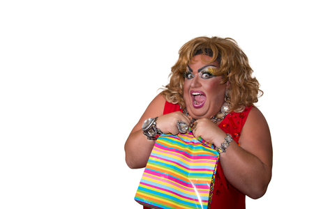 Funny travesty actor. Drag queen and gift. Fat man and make-up. Gift 写真素材 - 105788672