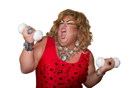Funny travesty actor. Drag queen and sport. Fat man and make-up