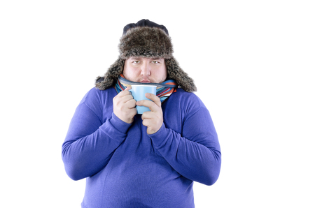 A funny man freezes. White background. Isolated
