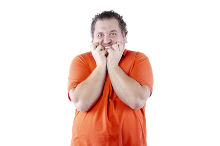 Surprise. Funny fat man. White background. Isolated