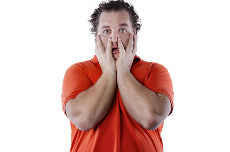 Surprise. Funny fat man. White background. Isolated 版權商用圖片 - 105792993