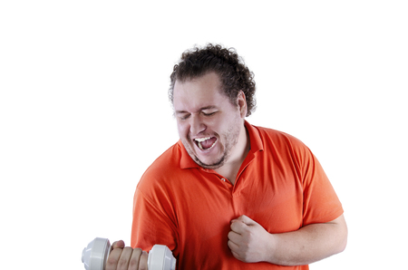 Funny bodybuilder. Fat man and dumbbells. White background. Isolated 写真素材 - 105792997