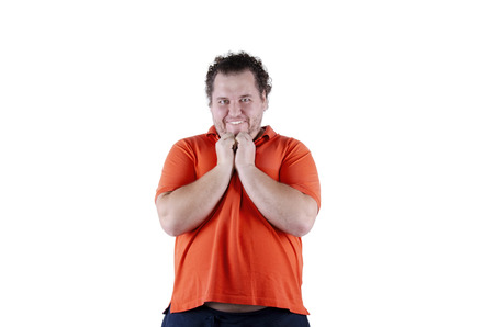 Surprise. Funny fat man. White background. Isolated 版權商用圖片 - 105792998