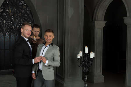 Gay wedding in the church. Beautiful couple and happy day.
