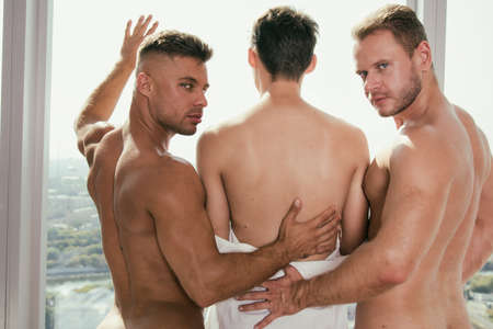 Three young attractive guys. Love and relationships. Foto de archivo