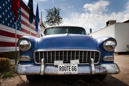 American car on the route 66 in Seligman Arizona USA
