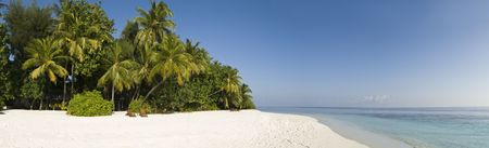 Panoramic view of topical palm tree, white sand beach and blue lagoon of Ihuru Island Maldvies in Malé North atoll Stock Photo