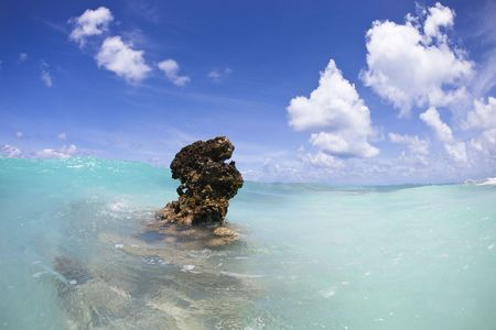 Coral reef above water of turquoise lagoon of a paradise island photo
