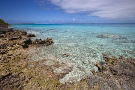 Vue sur le lagon bleu et les r�cifs de le �le une Paradis Banque d'images