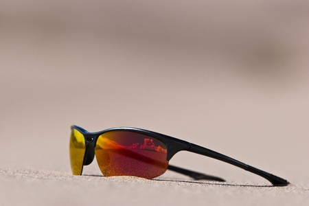 Sunglasses UV protection in sand dunes