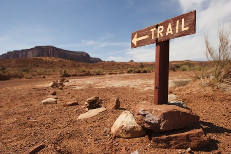 Trail and direction panel in Monument Valley Arizona USA