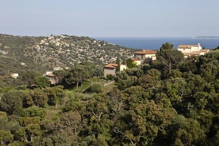 Vue panoramique de la mer M�diterran�e au sud de la France. Point de vue de Port Cros National Park, pr�s de Toulon. Banque d'images