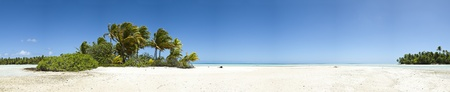 Paradise white sand beach and palm tree of a tropical island panoramic view photo