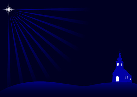 Christmas Night with dark blue background Vector