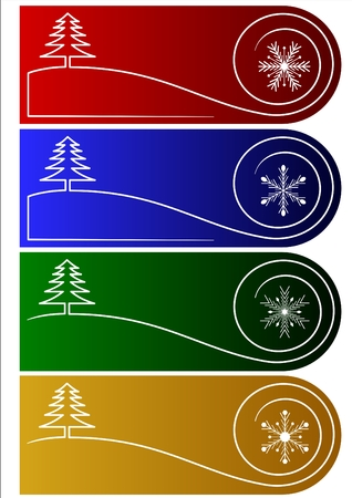 Collection of 4 vector christmas greetings or tags Vector