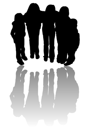 interlock: vector black silhouettes of five children together