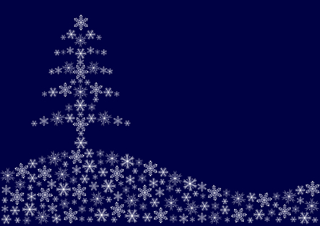 yule tide: Christmas tree with hill from snowflakes at blue background - vector Illustration