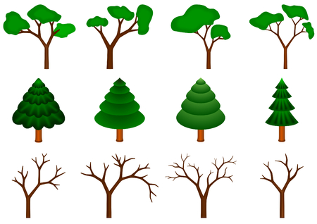 set of 12 vector trees on white background Vector