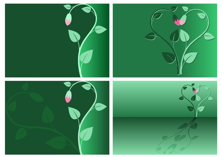 verdant: set of 4 abstract floral cards