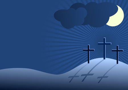 Golgotha - three crosses on hill with shadows and dark sky