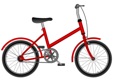 childs red bicycle on white isolated background Ilustrace