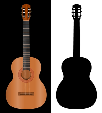 acoustic: classic spanish guitar and guitar silhouette - vector