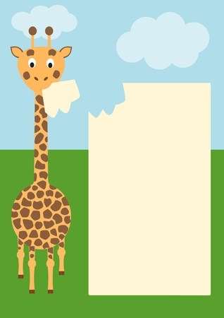 eating giraffe with paper for text - vector