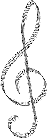 musical score: clef created from staff with notes - vector
