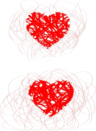 smirch: two abstract doddle hearts on white background Illustration