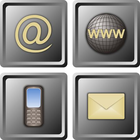 homepage: four web icons for contacts on gray background
