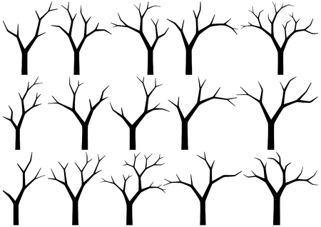 silhouettes of trees on white background
