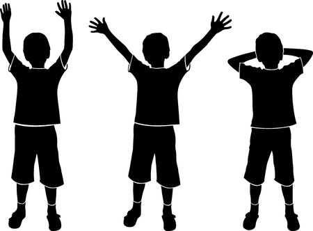vector silhouettes of three boys on white background