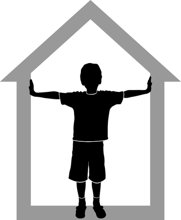 silouette: silhouette of boy at house on white background Illustration
