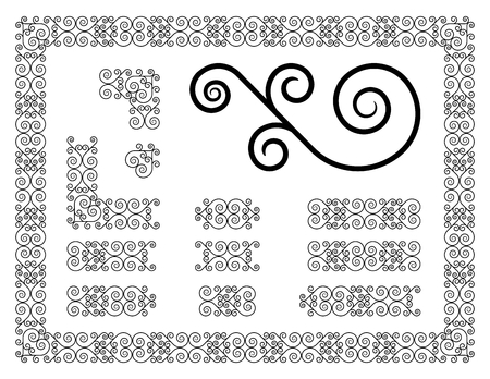 particular: decorative border with particular parts from this frame Illustration
