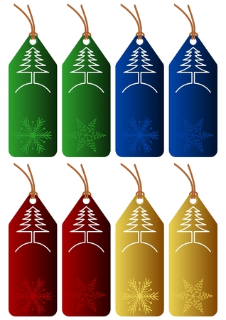 set of 8 christmas tags with different colors on white background