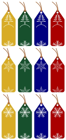 set of 12 christmas tags with 4 different colors on white background Stock Vector - 5614079