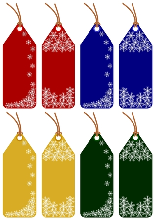 set of 8 christmas tags with 4 different colors on white background Illustration