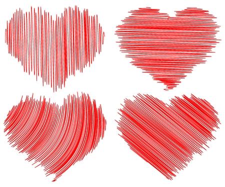 garabatos: cuatro corazones de doddle abstracta sobre fondo blanco