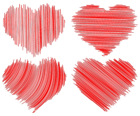 four abstract doddle hearts on white background