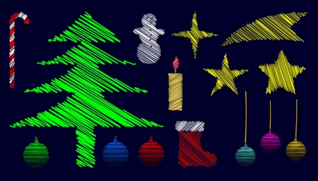isolated hatched christmas elements on darkblue background Vector