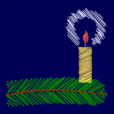hatched: hatched christmas candle on coniferous twig - vector
