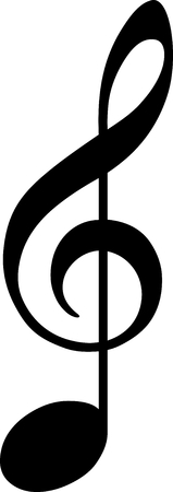 black clef drawn as note  Vector