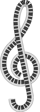 isolated clef created from piano keyboard