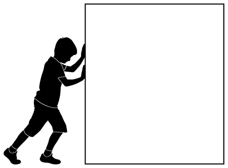 push type: silhouette of boy pushing a block - place for text
