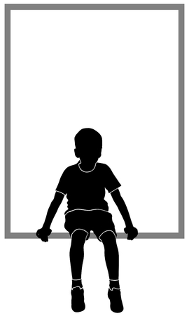 boy body: isolated silhouette of sitting boy