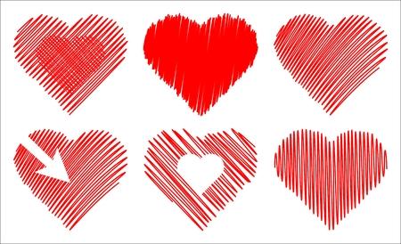 garabatos: conjunto de corazones abstracta aislados sobre fondo blanco  Vectores