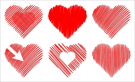 set of isolated abstract hearts on white background