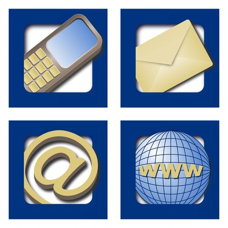 Four web icons for contacts on blue background photo